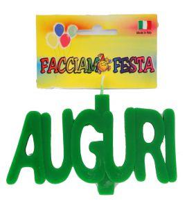 "Candela Media Targhetta AUGURI ""Facciamo Festa"" Verde"