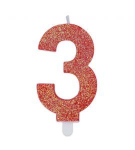 Candelina Glitter DIMAV N°3 - Rossa - 9 cm.